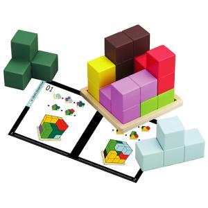 カラフルな7つのブロックで木製のプレートの上に立方体を組み立てます。56種類のパターンを掲載したテキ...