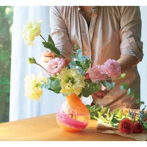 津軽びいどろ 花器 花瓶 ブーケポット 花しずく F-71439-6|gift-shop-yamato