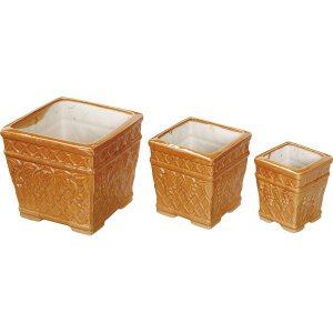 陶器植木鉢3点セット ライトブラウン  UH04/3BR (ギフト対応不可)