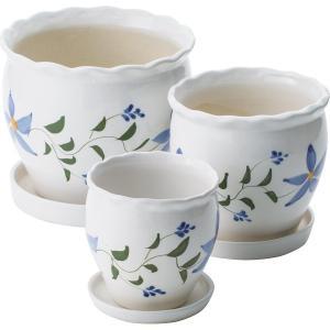 陶器植木鉢3点セット(受皿付)   UH03/3DSFB3 (ギフト対応不可)