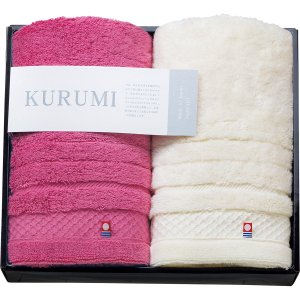 KURUMI フェイスタオル2P ピンク・ホワイト KUM-401-2 | 香典返し 法事引き出物 ギフト 贈り物 贈答品 内祝い 結婚祝い 出産祝い 御祝 お中元 お歳暮 記念品|giftnomori