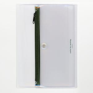 ダイゴー isshoni. ペンケース付ノートカバーPVC A5対応 クリア グリーン N1862|giftnomura