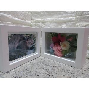 プリザーブドフラワー ペット供養用(BOX型写真立て)Aタイプ 花が真ん中にアレンジ T-022|giftnomura