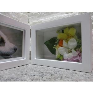 プリザーブドフラワー ペット供養用(BOX型写真立て)Bタイプ 花が端にアレンジ T-023|giftnomura