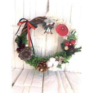 プリザーブドフラワー クリスマスリース直径約22センチ T-047|giftnomura