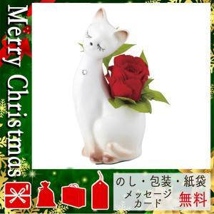 クリスマス プレゼント プリザーブドフラワー花束 アレンジメント プティキャット(プリザーブドフラワー) レッド|giftstyle