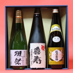 喜寿祝い〔きじゅ〕(77歳)おめでとうございます!日本酒 本醸造+獺祭(だっさい)39+越乃寒梅白720ml 3本ギフト 飲み比べセット|gifttd