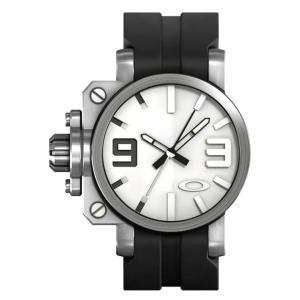 OAKLEY オークリー 10-064 Mens Gearbox Brushed White ギアボックス 腕時計 ブラック×タンベージュ アナログ メンズ|gifttime