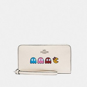 f6514a65c166 COACH LARGE PHONE WALLET F73444-SVCAH / PAC-MAN GHOSTS WHITE/MULTI/SILVER  コーチ ホワイトレザー・パックマンゴースト 携帯長財布