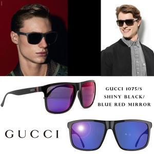 GUCCI グッチ gg1075s-gvb-mi GUCCI グッチ GG 1075/S GVB MI Blue Red Mirror shiny Black  サングラス ユニセックス メンズ|gifttime