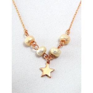 ポイント5倍★[メール便]『made in japan!』日本製 ローズゴールド 星パールネックレス  j-rosestar-n レディース|gifttime
