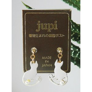 ポイント5倍★『made in japan!』日本製 ホワイト キャット j-whitecat-p トウモロコシが主原料のポスト使用! 低アレルギーエコピアス|gifttime