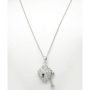 ポイント5倍★[メール便]早よつく★ステアリングシルバー Sterling Silver Cubic Zirconia Heart & Keyハート m945131 レディース ネックレス gifttime