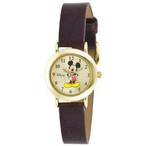 【日本未入荷 Disney ディズニー mck614 Mickey Mouse Goldtone Case Brown Strap レディース 時計 gifttime