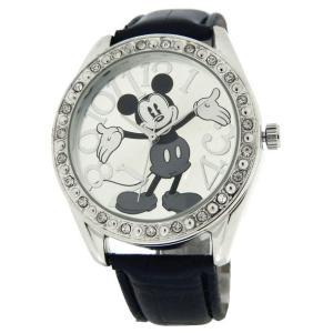 ★ポイント5倍 Disney/ディズニー mk1015 Mickey Mouse Silver Black Strap レディース ユニセックス 時計 gifttime