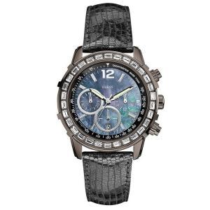 GUESS ゲス u0017l3 マザーオブパール/ブラックレザーバンド レディース 腕時計 女性 gifttime