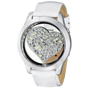 GUESS ゲス u0113l6  White and Silver-Tone Clearly Inspired Heart ハートクリスタル ホワイトレザー女性 レディース 腕時計 gifttime