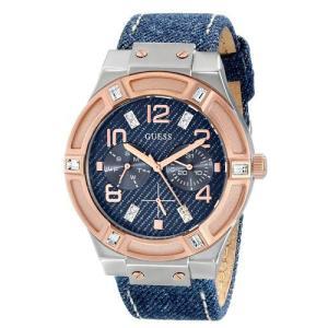 GUESS ゲス U0289L1 / W0289l1 Silver and Rose Gold ローズゴールド×ブルーデニム レディース腕時計 gifttime
