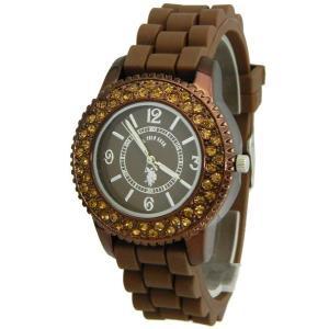 ポイント5倍★早よつく★U.S.POLO ユーエスポロ usc41011 レディース 腕時計 シリコンブラウン gifttime