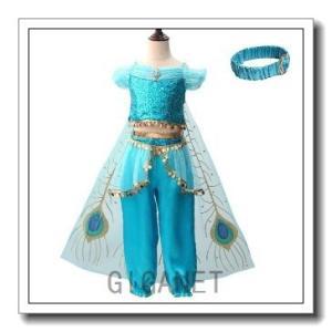 ジャスミン姫ドレスコスプレ衣装ハロウィン衣装女の子プリンセスドレスコスチュームインディアン子供用ワン...