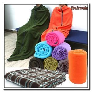 寝袋毛布冬用シュラフ車中泊フリースブランケット登山アウトドア封筒型寝袋無地チェック