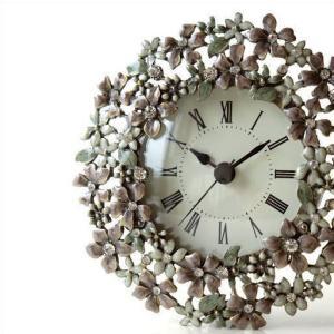 置き時計 置時計 かわいい エレガント おしゃれ アナログ 花 デザイン テーブルクロック プチフラワー|gigiliving