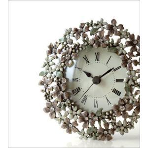 置き時計 置時計 かわいい エレガント おしゃれ アナログ 花 デザイン テーブルクロック プチフラワー|gigiliving|02