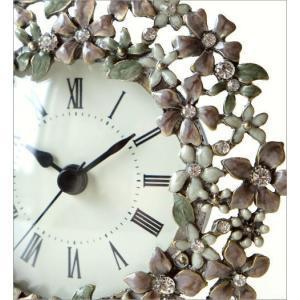 置き時計 置時計 かわいい エレガント おしゃれ アナログ 花 デザイン テーブルクロック プチフラワー|gigiliving|03
