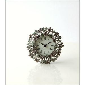 置き時計 置時計 かわいい エレガント おしゃれ アナログ 花 デザイン テーブルクロック プチフラワー|gigiliving|05