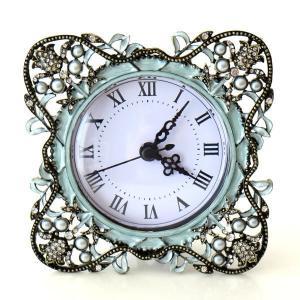 置き時計 置時計 おしゃれ アンティーク アナログ かわいい 卓上 時計 テーブルクロック リーブ|gigiliving