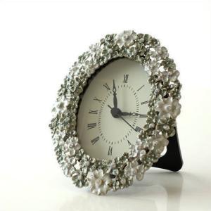 置き時計 置時計 おしゃれ アンティーク アナログ かわいい 卓上 時計 テーブルクロック オーバルフラワー|gigiliving