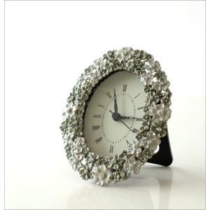 置き時計 置時計 おしゃれ アンティーク アナログ かわいい 卓上 時計 テーブルクロック オーバルフラワー|gigiliving|02