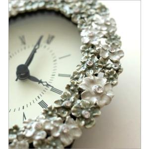 置き時計 置時計 おしゃれ アンティーク アナログ かわいい 卓上 時計 テーブルクロック オーバルフラワー|gigiliving|03