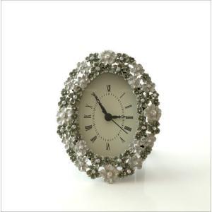 置き時計 置時計 おしゃれ アンティーク アナログ かわいい 卓上 時計 テーブルクロック オーバルフラワー|gigiliving|07