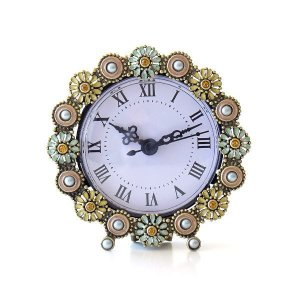 置き時計 置時計 おしゃれ アナログ 可愛い かわいい エレガント クラシック テーブルクロック パステルフラワー|gigiliving
