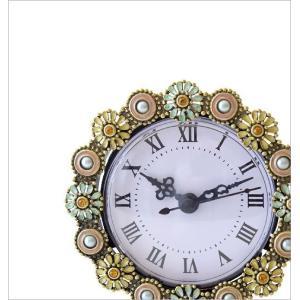 置き時計 置時計 おしゃれ アナログ 可愛い かわいい エレガント クラシック テーブルクロック パステルフラワー|gigiliving|02