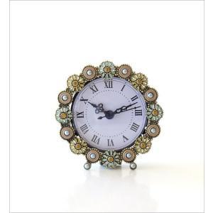 置き時計 置時計 おしゃれ アナログ 可愛い かわいい エレガント クラシック テーブルクロック パステルフラワー|gigiliving|05