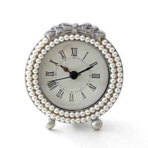 置き時計 置時計 おしゃれ アナログ かわいい 可愛い エレガント アンティーク テーブルクロック パールラウンド|gigiliving