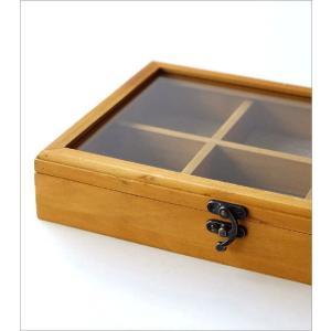 コレクションボックス 木製 ショーケース コレクションケース 卓上 アクセサリーケース 小物入れ ふた付き 収納ケース 仕切り 格子 コレクションボックス gigiliving 04