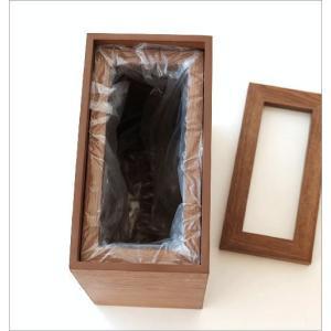 ゴミ箱 おしゃれ ふた付き 木製 木目 スリム 薄型 コンパクト 袋が見えない 袋止め 小さい くず入れ くずかご 四角 長方形 洗面所 木のダストボックス|gigiliving|03