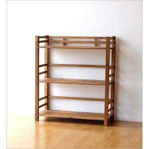 ウッドラック 飾り棚 木製 本棚 オープンラック 天然木 ナチュラル カントリー 幅70cm ウッド3段シェルフ|gigiliving|06
