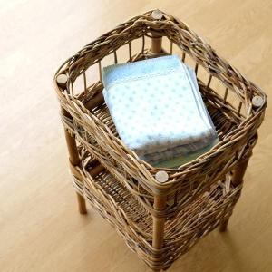 バスケット アラログ 2段 収納 ランドリーラック 自然素材 ナチュラル おしゃれ バスルーム 洗濯かご 洗面 おもちゃ入れ 片付け アラログ2段バスケット|gigiliving