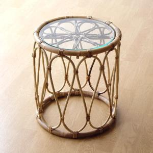 サイドテーブル ラタン 籐 ガラス おしゃれ ナチュラル 丸テーブル ソファーサイドテーブル ベッドサイドテーブル 丸型 円形 ラタンとガラスのラウンドテーブル|gigiliving