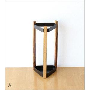 傘立て 傘たて 傘立 おしゃれ 木製 アイアン 三角形 デザイン シンプル スタイリッシュ 黒 白 ブラック ホワイト アイアンとウッドの傘立て A2カラー|gigiliving|05