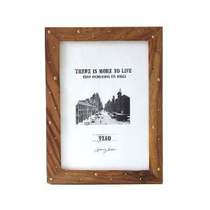 ピクチャーフレーム 木製 フォトフレーム 写真立て おしゃれ 卓上 壁掛け 縦置き 横置き 壁飾り ビッグなウッド&ブラスフレーム|gigiliving