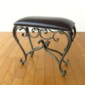 スツール 椅子 いす イス クッションチェア 玄関 アンティーク おしゃれ アイアンのスリムなスクエアスツール2|gigiliving