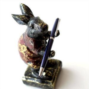 うさぎ ウサギ 置物 置き物 雑貨 ペン置き レトロなラビットのペンホルダー|gigiliving