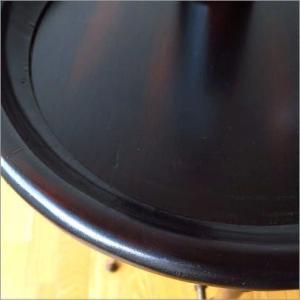 丸テーブル サイドテーブル アンティーク レトロ おしゃれ 花台 トレーテーブル 黒 ブラック 円形 モダン 木製 天然木 アイアンとウッドのトレイテーブル|gigiliving|04