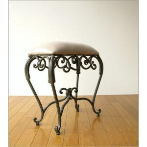 スツール 椅子 いす イス クッションチェア 玄関 アンティーク おしゃれ アイアンのスリムなスクエアスツール|gigiliving|03