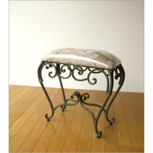 スツール 椅子 いす イス クッションチェア 玄関 アンティーク おしゃれ アイアンのスリムなスクエアスツール|gigiliving|06